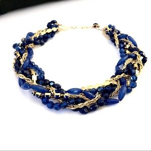 LOFT blue bead crystal rope twisted chain necklace